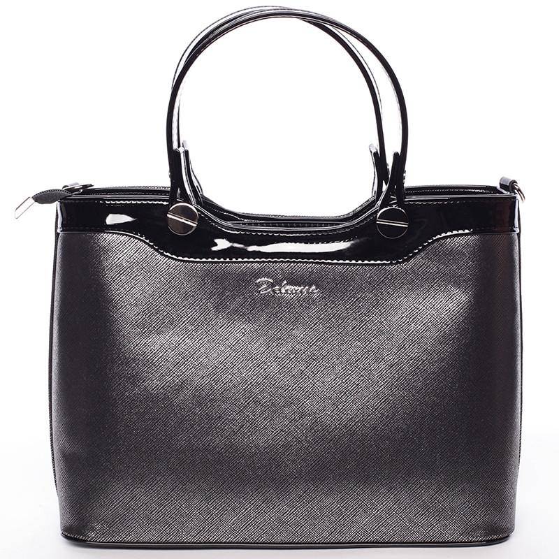 Elegantní lakovaná černá stříbrná dámská kabelka do ruky - Delami Iriana ... e6594fcafe1