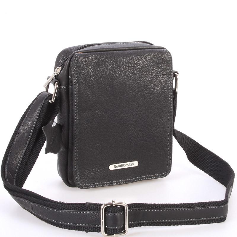 5a5c761119 Menší černá pánská kožená taška - Sendi Design Merl - Kabea.cz