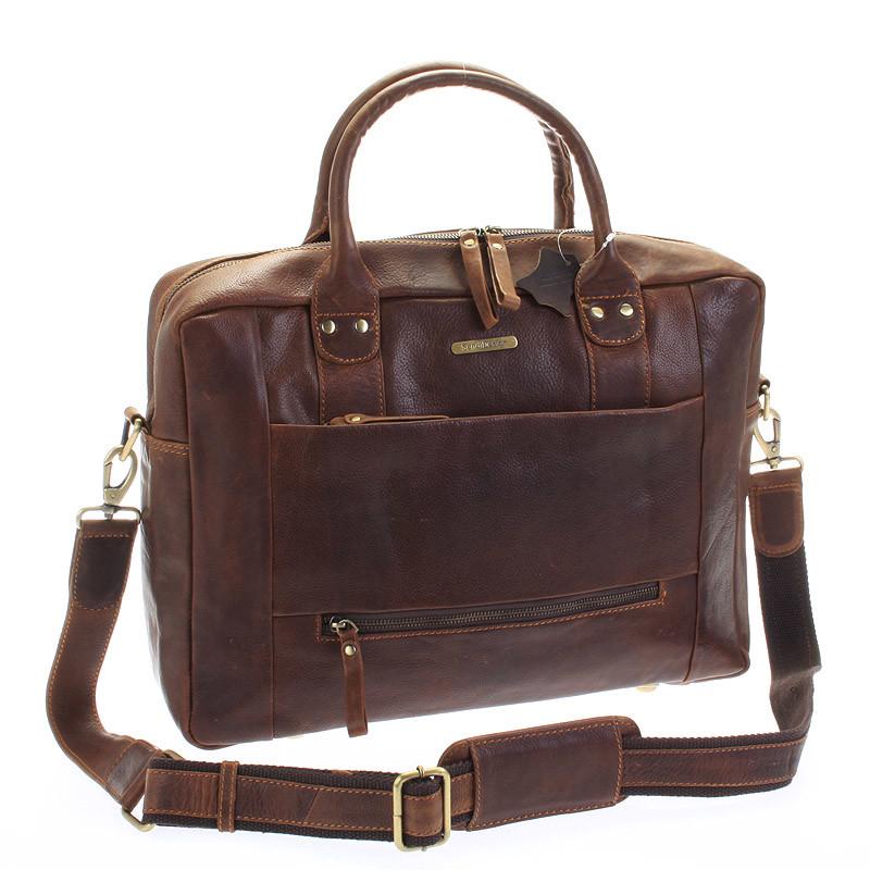 Hnědá luxusní a kvalitní kožená taška - Sendi Design Hero - Kabea.cz c7191ced38f