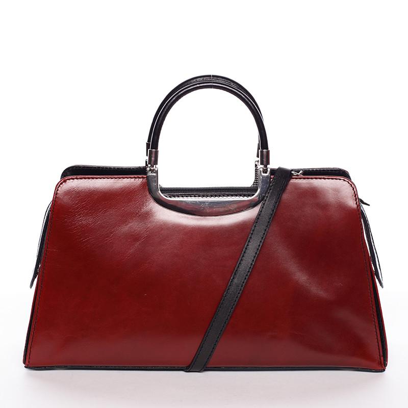 f1a206d089 Dámská středně velká červeno černá kožená společenská kabelka - ItalY  Yalene ...