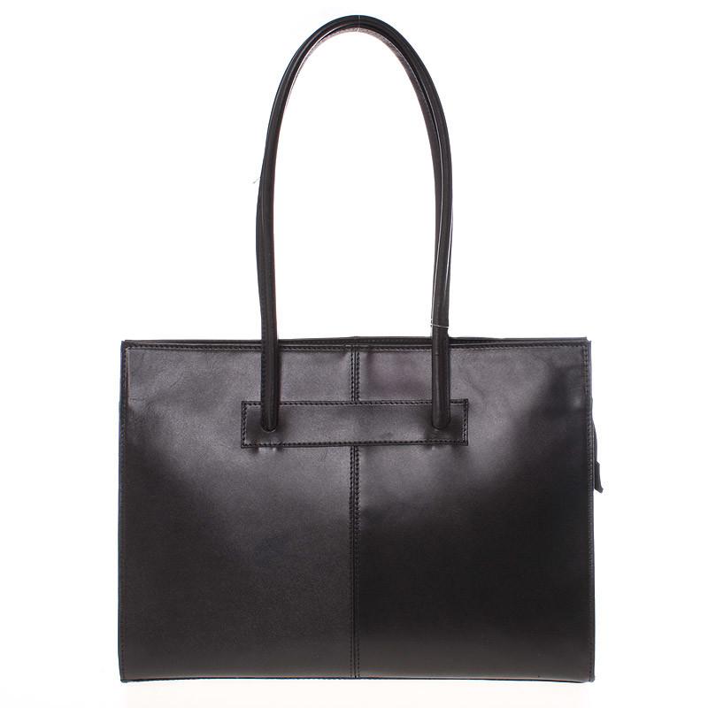 5e846ff205 Velká elegantní dámská kožená kabelka černá - ItalY Hernana - Kabea.cz