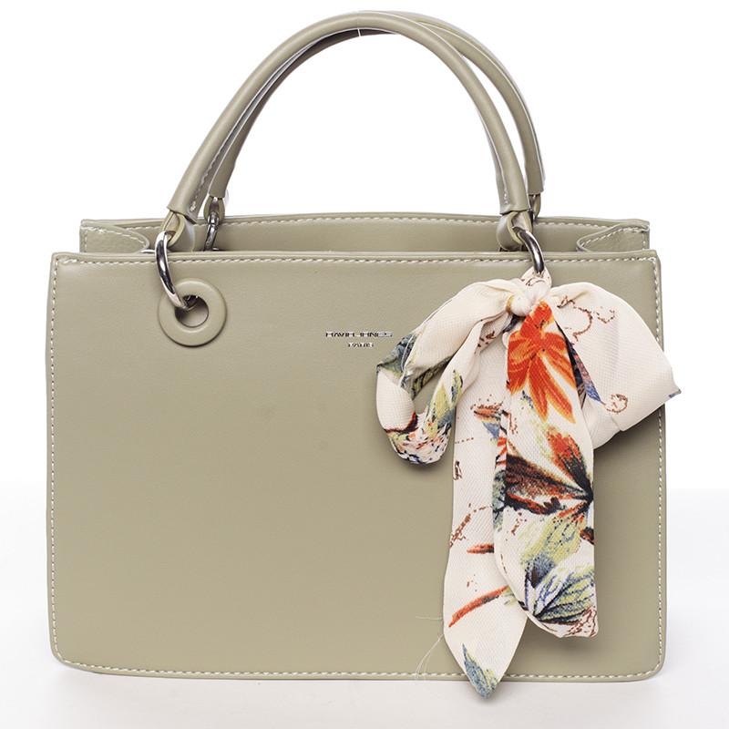 Luxusní olivová kabelka do ruky s šátkem - David Jones Ledell - Kabea.cz 5eb55b0644c