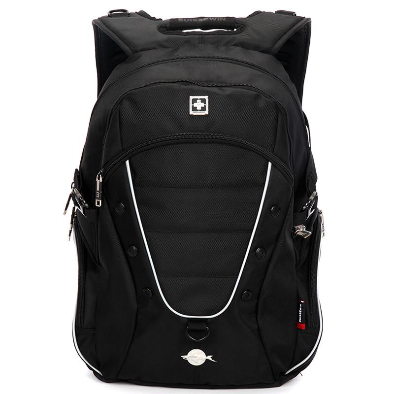 9ed350df8a5 Luxusní kvalitní černý turistický a sportovní batoh - Suissewin 1615 ...