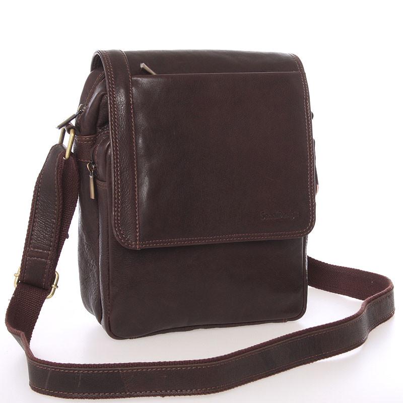 4bb17b9b6 Módní pánská kožená taška přes rameno hnědá - SendiDesign Sage ...