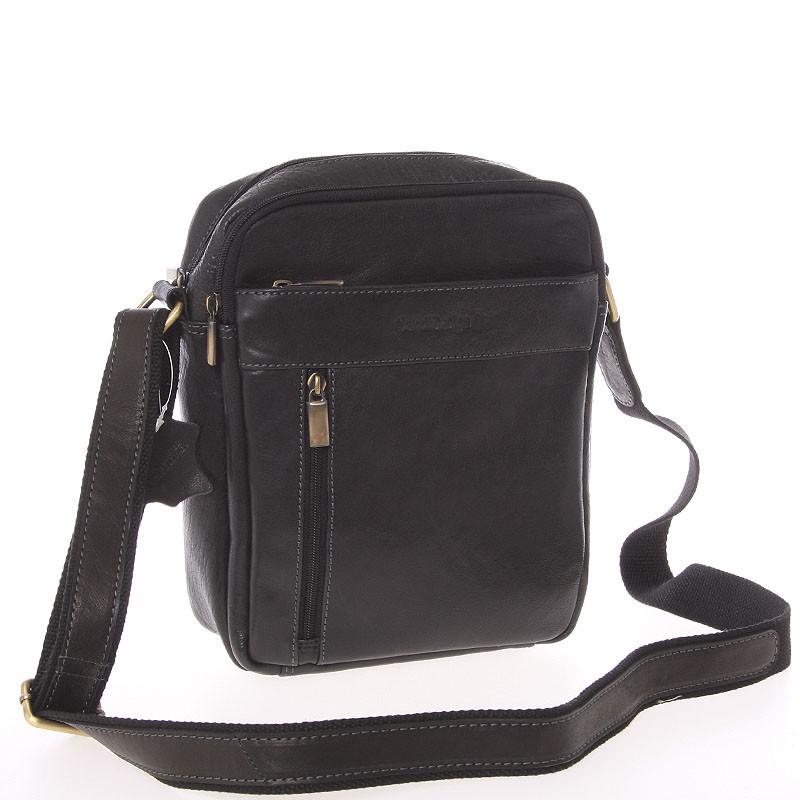 c68709194 Stylová pánská kožená taška přes rameno černá - SendiDesign Loukanos ...