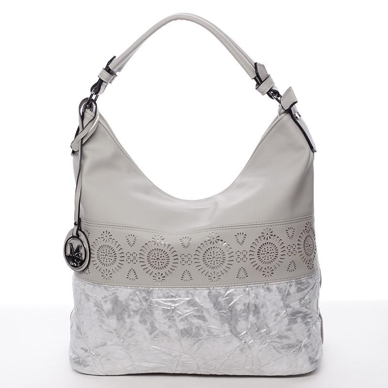 d7a09d5b0d5 Luxusní a exkluzivní měkká velká dámská kabelka šedá - MARIA C Missa ...
