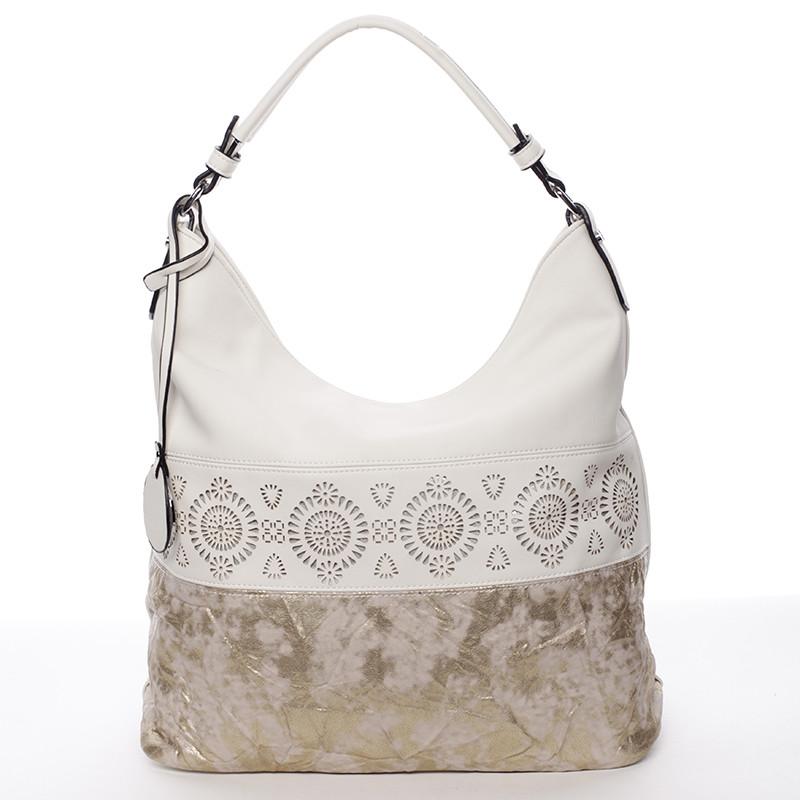 544be196964 Luxusní a exkluzivní měkká velká dámská kabelka béžová - MARIA C Missa ...