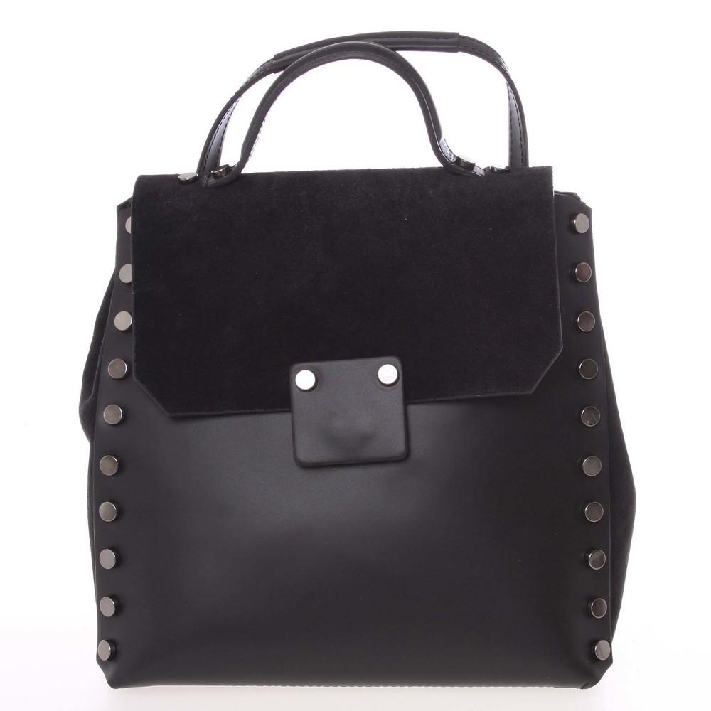 2da0ec6254d Unikátní černý dámský kožený batoh kabelka - ItalY Nicoletta - Kabea.cz