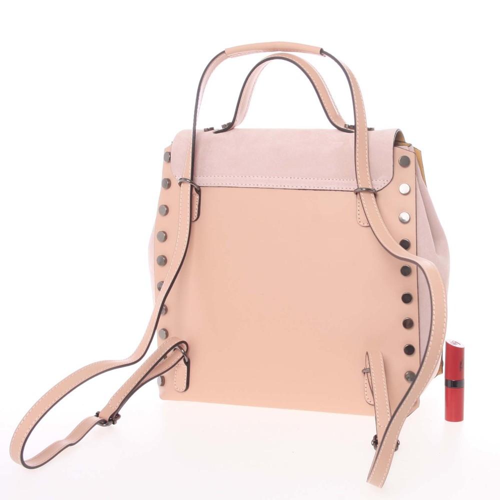 ac464c58e78 Unikátní růžový dámský kožený batoh kabelka - ItalY Nicoletta - Kabea.cz
