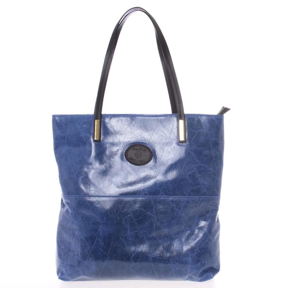 Velká kožená kabelka přes rameno tmavě modrá - ItalY Obelia - Kabea.cz 746743b420
