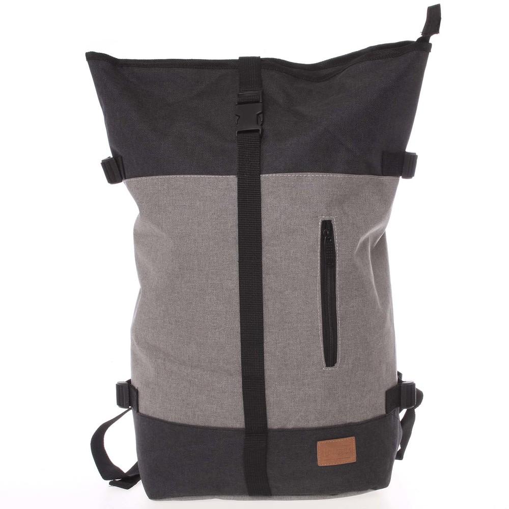 Jedinečný velký stylový unisex batoh šedočerný - New Rebels Rebback ... 129ede2606