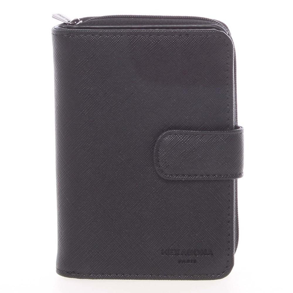 232bc6c7b5b Luxusní dámská dvoudílná černá peněženka saffiano - HEXAGONA Ritsa ...