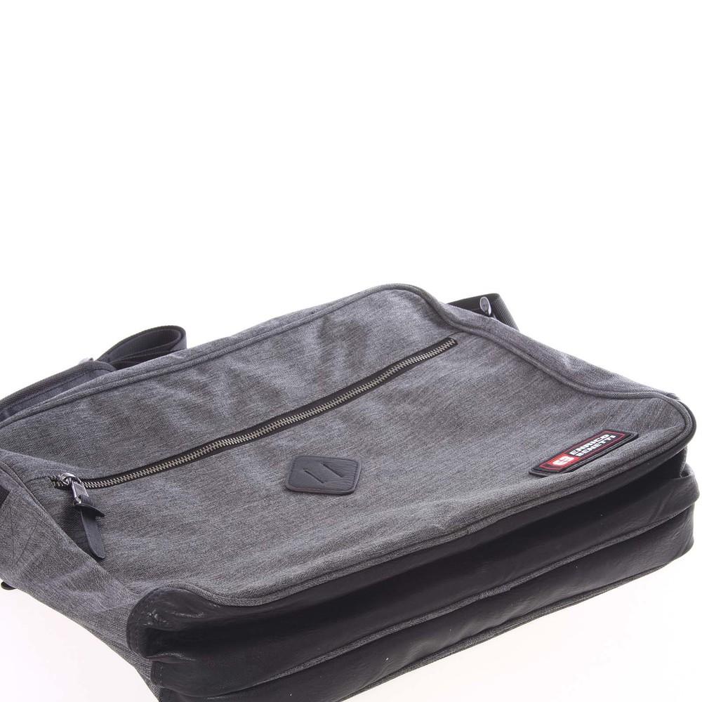 4e17b011fd ... Tmavě šedá kabela přes rameno na doklady a notebook - Enrico Benetti  Adam