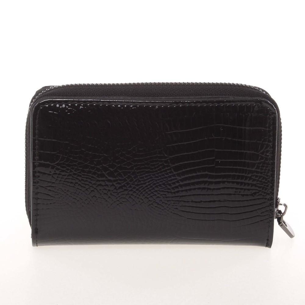 7f085142456 ... Menší kožená lakovaná dámská peněženka na zip černá - Loren 55025RS ...