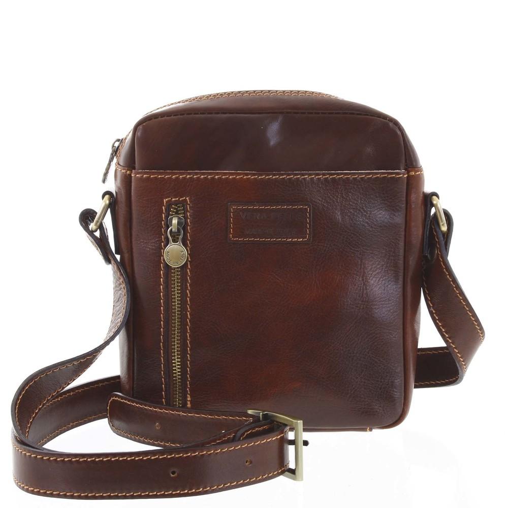 ea9080364 Kvalitní hnědá kožená pánská taška přes rameno - ItalY Sollis - Kabea.cz