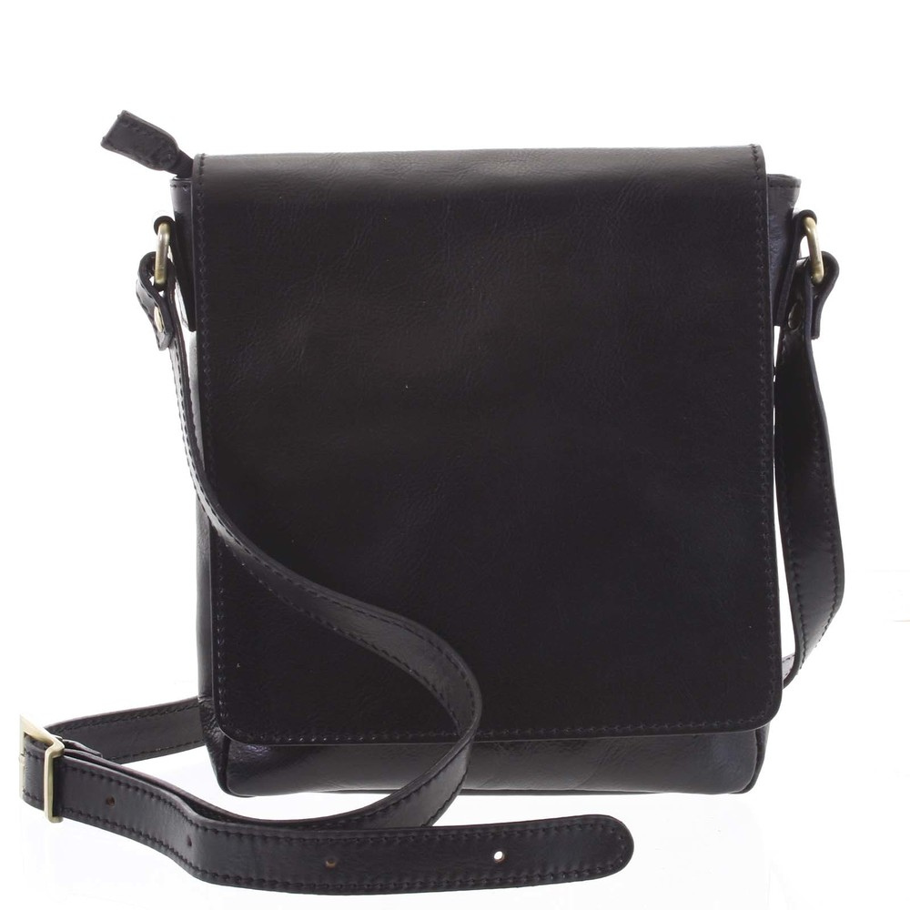 686ece7b9d Módní střední černá kožená pánská taška přes rameno - ItalY Solide ...