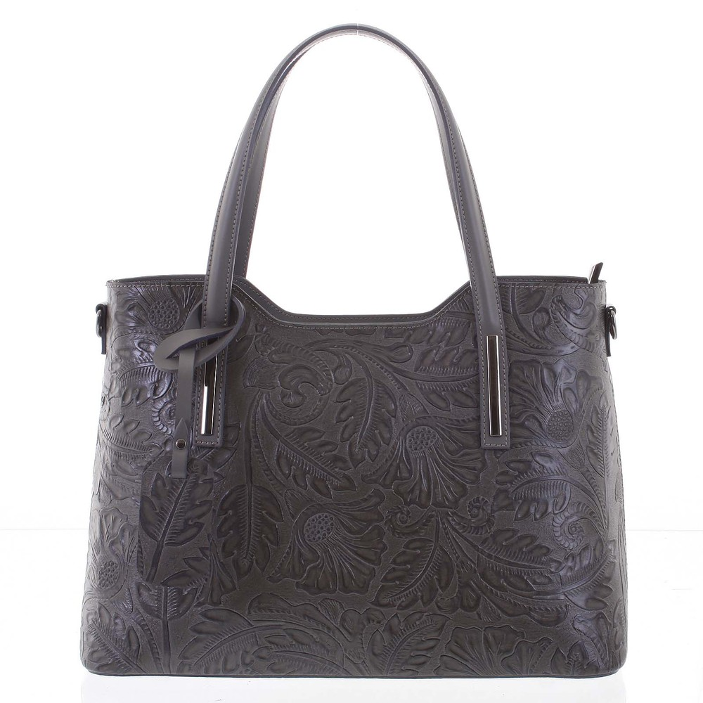 bef03a3dfa3d Velká dámská kožená kabelka tmavě šedá se vzorem - ItalY Afrodite ...
