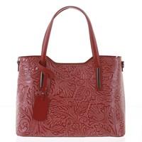 Velká dámská kožená kabelka červená se vzorem - ItalY Afrodite d812c733786