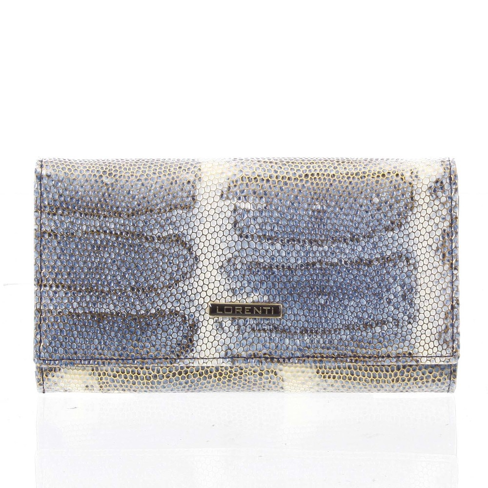 de861b56ba Luxusní hadí kožená modrá peněženka s odleskem - Lorenti 114SH ...