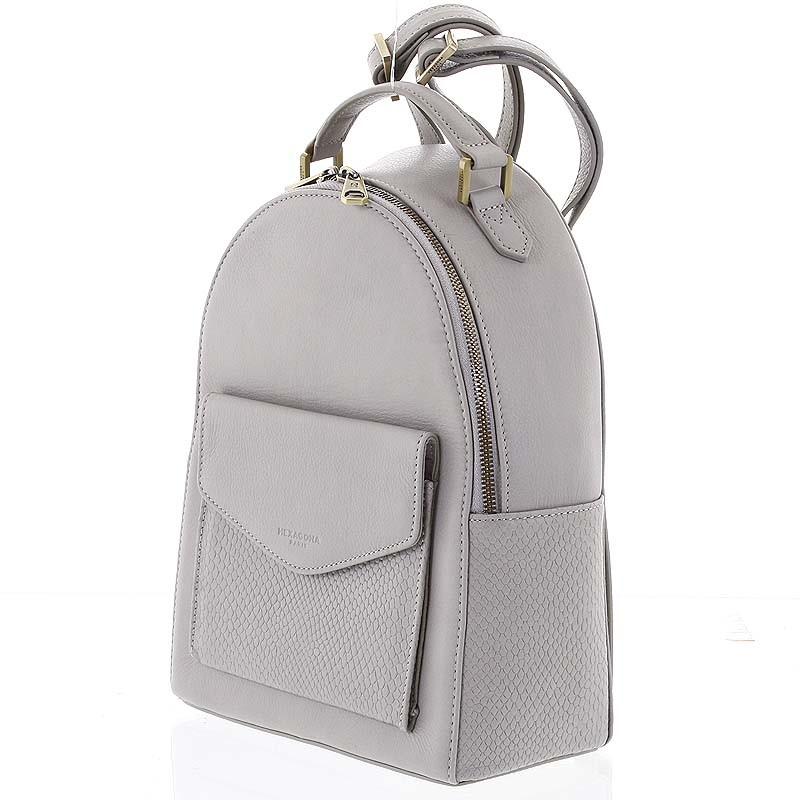 2dcf07444e4 ... Luxusní stylový kožený dámský světle šedý batoh - Hexagona Zoilo ...