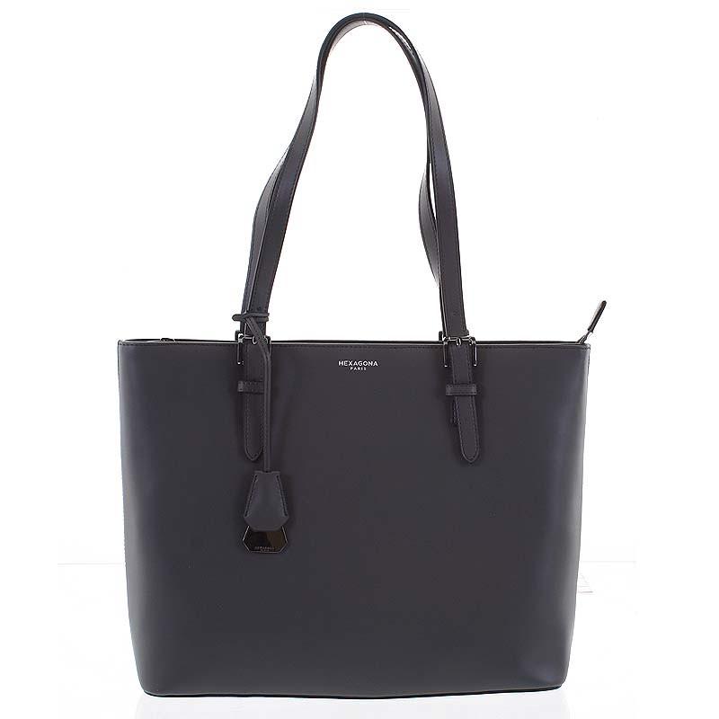 75ce16fe0 Velká luxusní dámská kožená tmavě šedá kabelka přes rameno - Hexagona Zoie  ...