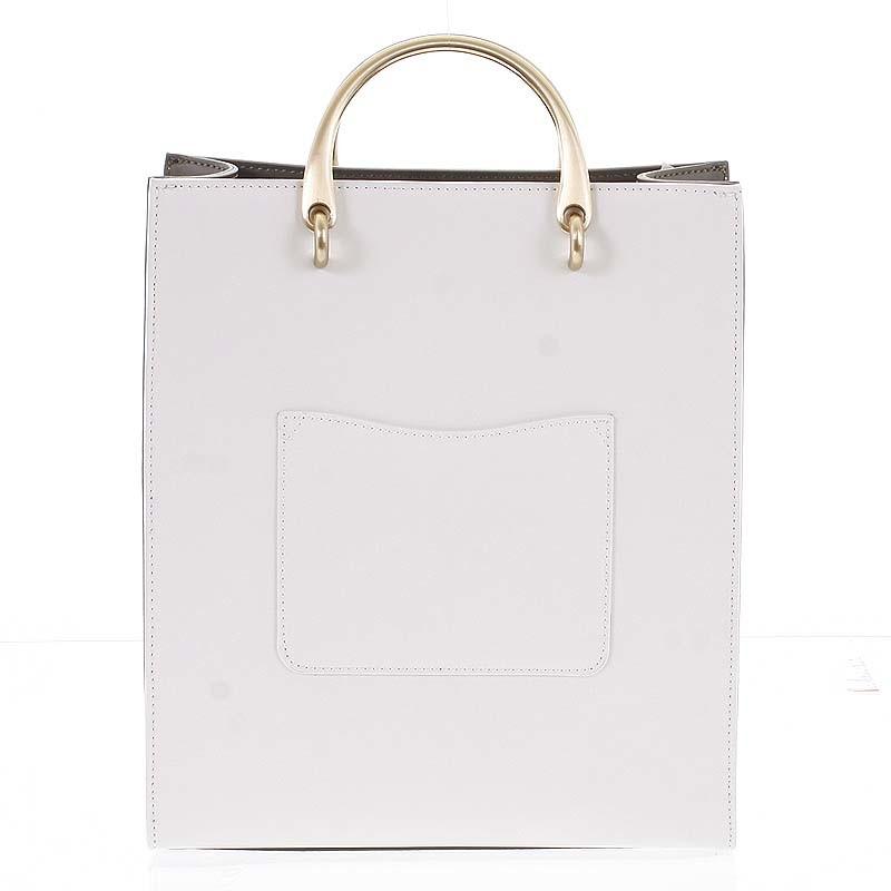 dda16b3089 Luxusní dámská kožená bílo olivová kabelka do ruky - Hexagona Zenia ...