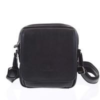 Luxusní černá kožená taška přes rameno Hexagona 129898 1ba50fbc21