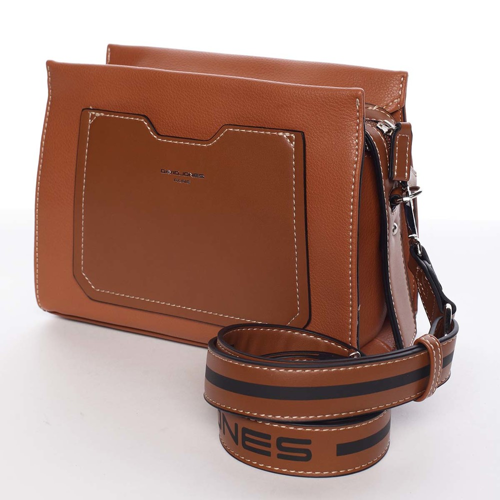ef6a8396e1 ... Dámská koňaková crossbody kabelka s kapsičkou - David Jones Angeli ...