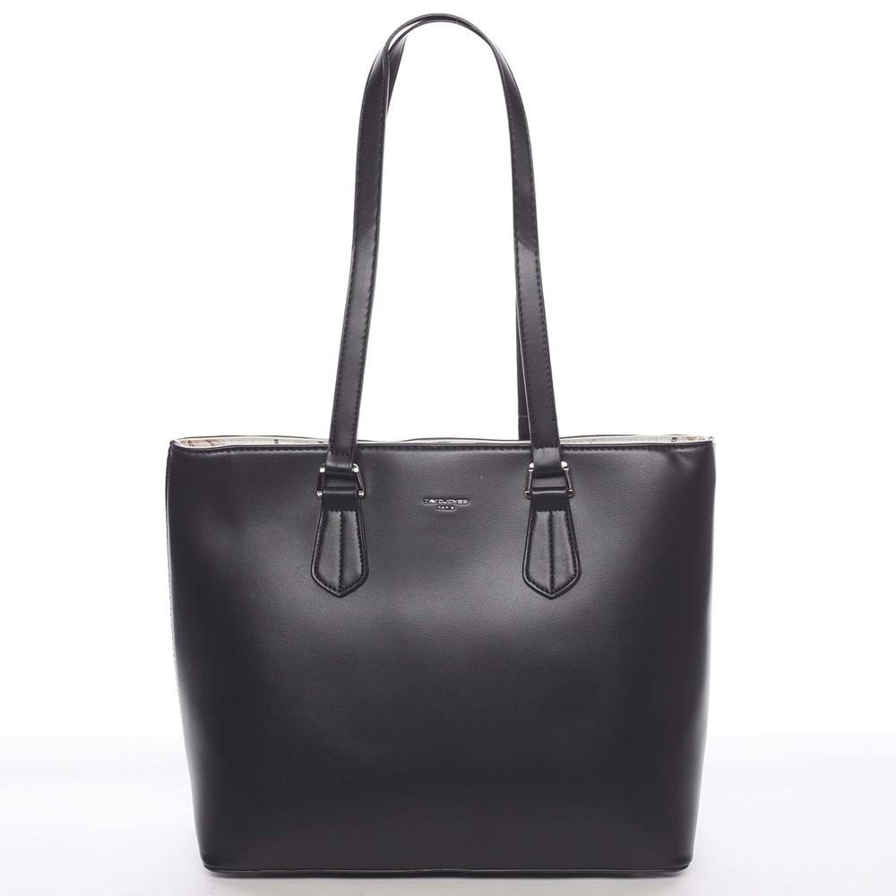 a79afc9e45 Velká elegantní hladká dámská černá kabelka - David Jones Emely ...