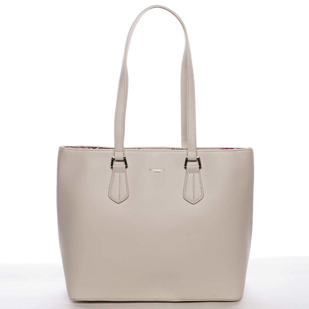 166a5f85ee Velká elegantní hladká dámská krémově bílá kabelka - David Jones Emely ...