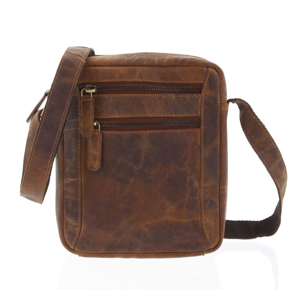 76e40fac76 Přírodní hnědá pánská kožená crossbody taška - Tomas Eluigwe - Kabea.cz