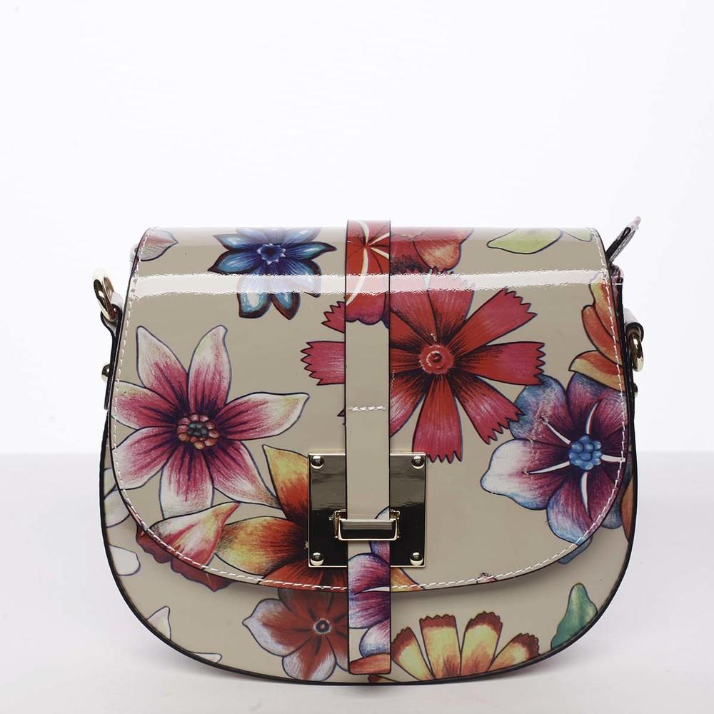 cbd04feacd Dámská originální kožená crossbody kabelka květinová taupe - ItalY Latifa  ...