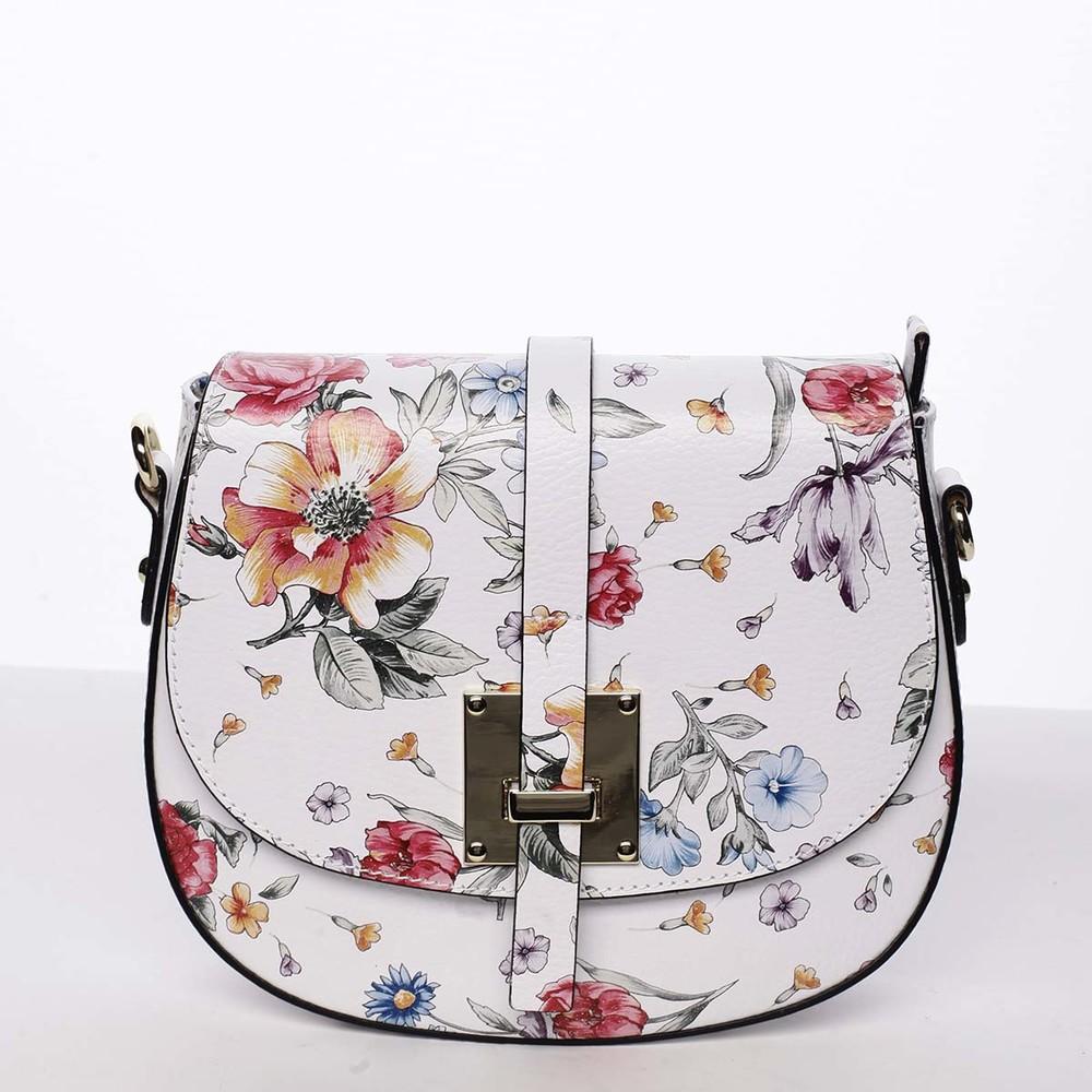 918dcc831d Dámská originální kožená crossbody kabelka květinová bílá - ItalY Latifa ...
