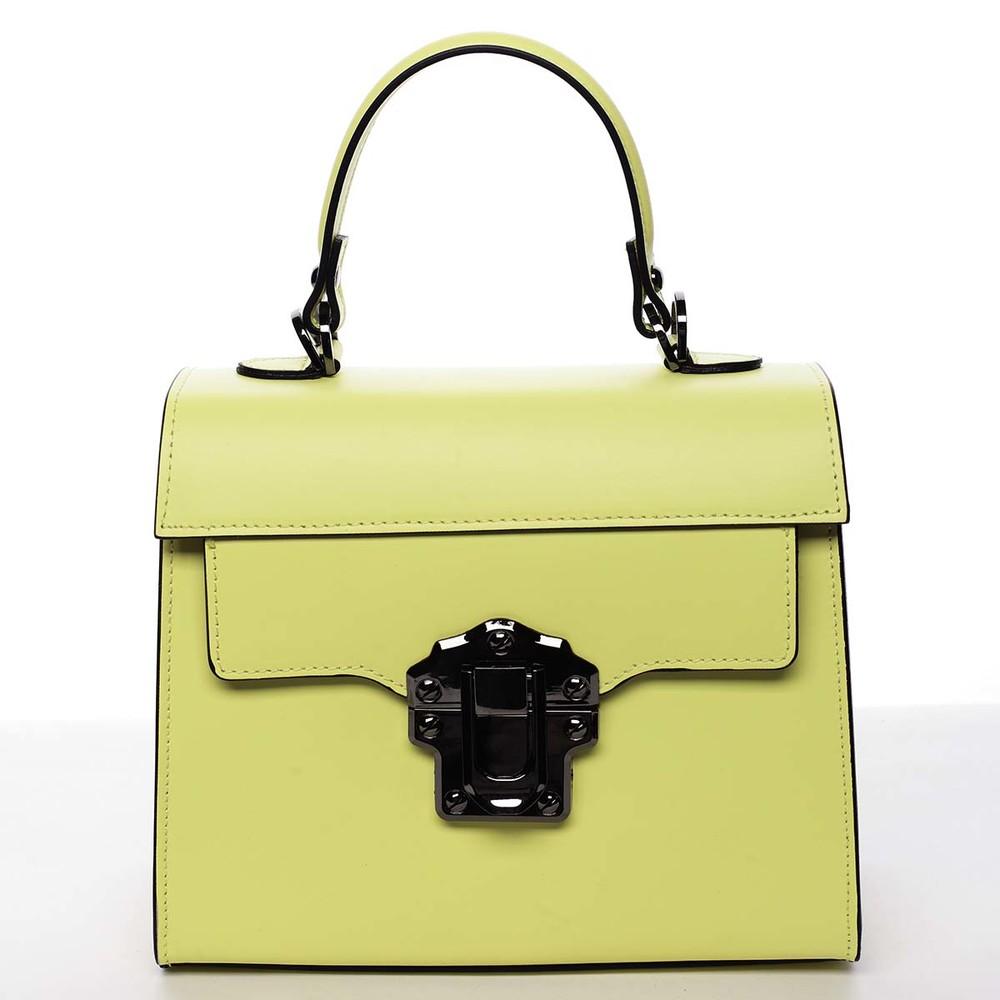 4e3fb42d69 Exkluzivní módní dámská kožená kabelka žlutá - ItalY Bianka - Kabea.cz