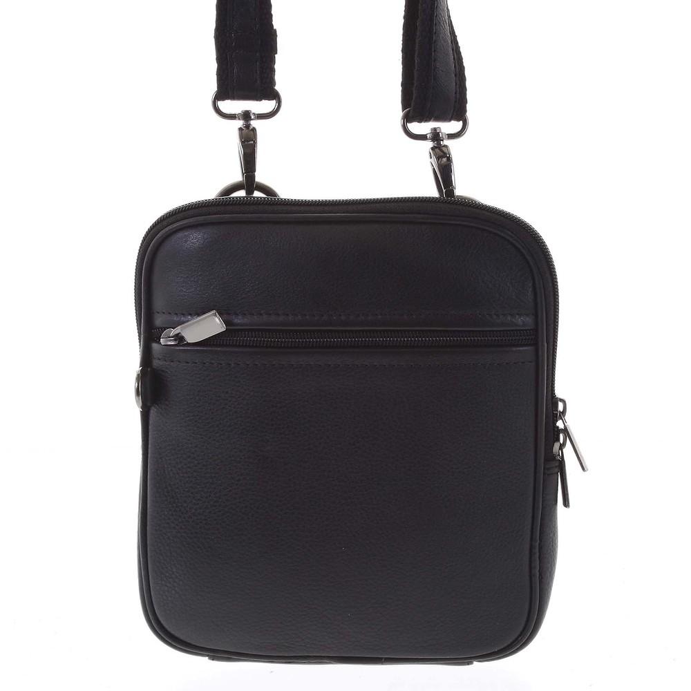 be0ba58f85 Elegantní černá kožená pánská taška přes rameno - WILD Hamid - Kabea.cz